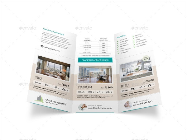 High Quality Apartment Real Estate Trifold Brochure