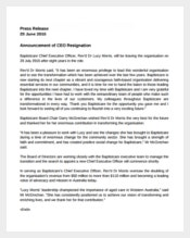 CEO Announcement Press Release Template