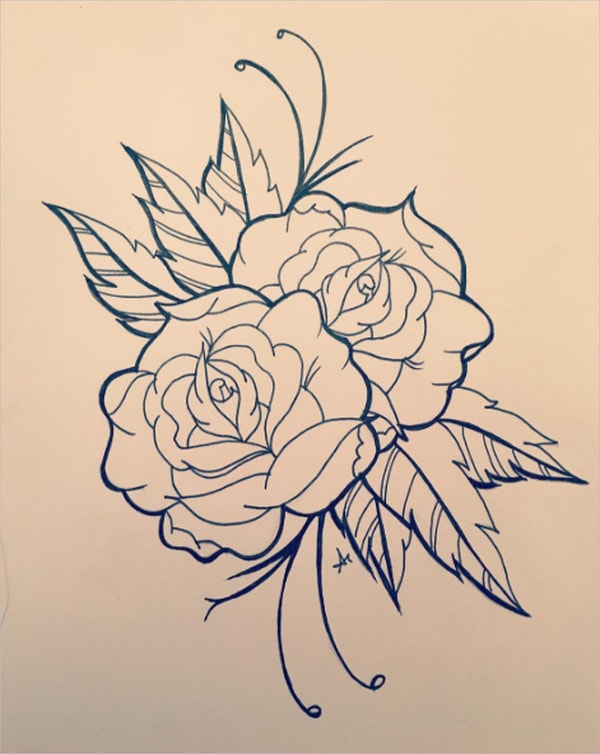 Tatoo style Rose Drawing