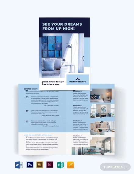 apartment condo agent agency bi fold brochure template