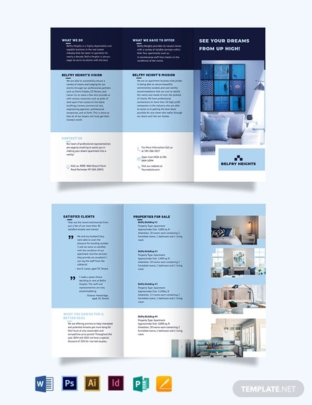 apartment condo agent agency tri fold brochure template