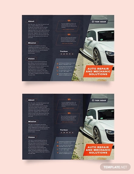 auto mechanic tri fold brochure template