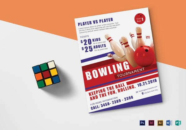 bowling tournament flyer template in psd