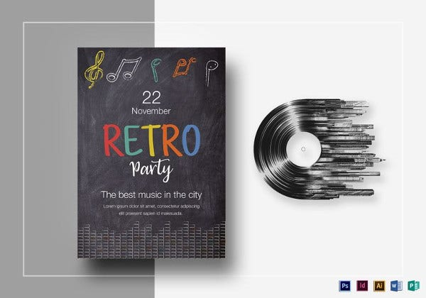 chalk house 90s retro party flyer template