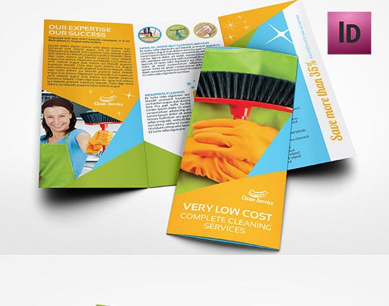 cleaning services tri fold brochure template