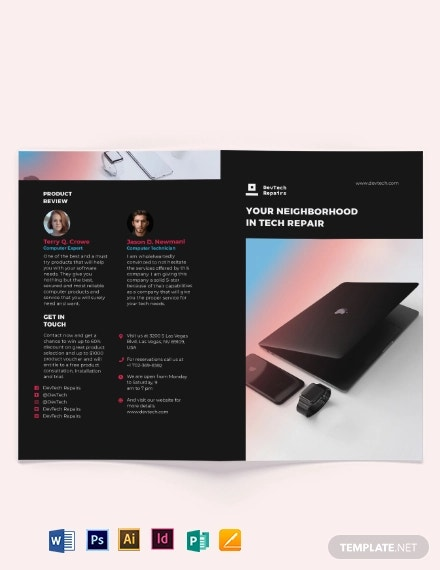 computer repair bi fold brochure template