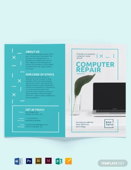 computer repair shop bi fold brochure template