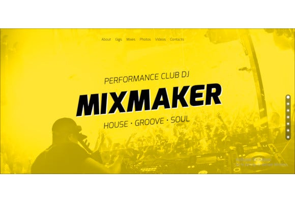 dj music band website responsive muse template