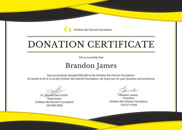 Donation Certificate Template   Free Word Pdf Documents Download