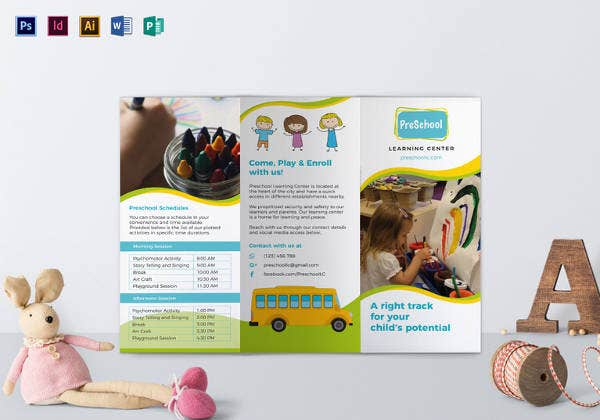 Preschool Brochure Free PSD AI EPS Format Download Free - Editable brochure templates
