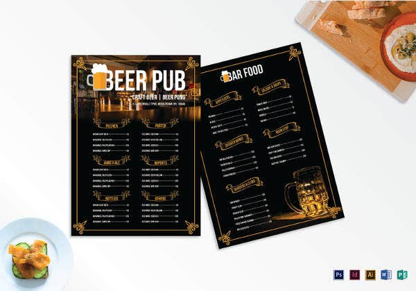 editable pub menu template