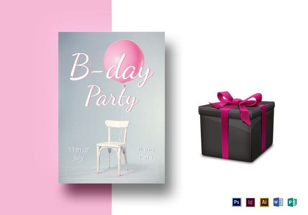 elegant birthday party flyer template