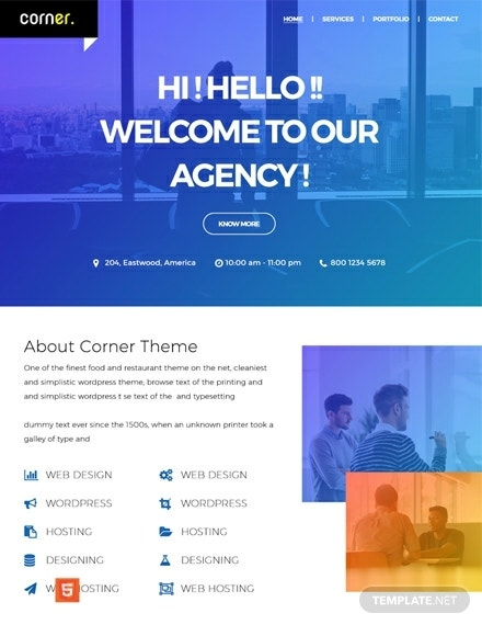 free corner theme html5css3 website template