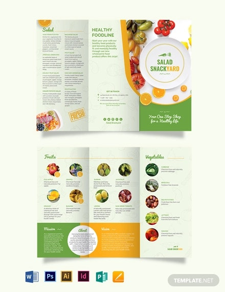 healthy food diet tri fold brochure template