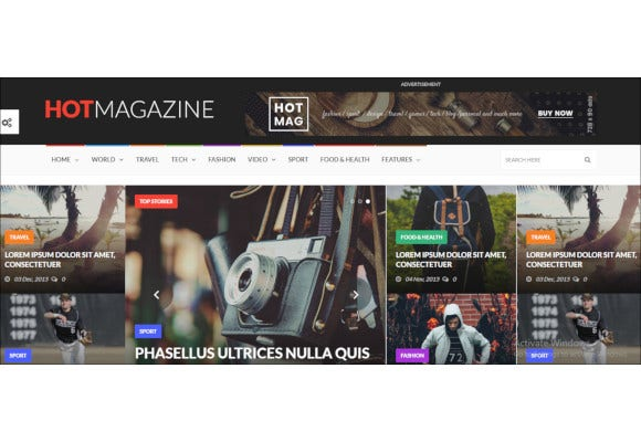 hot dark magazine news wordpress theme