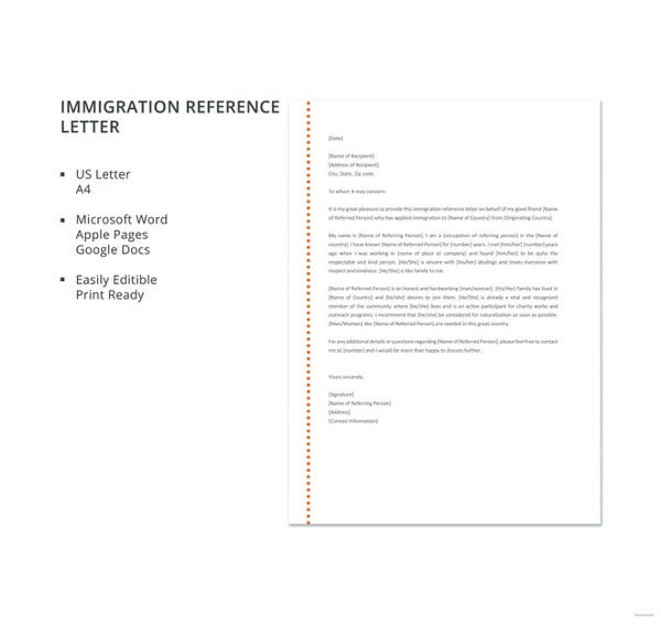 10 immigration reference letter templates pdf doc free immigration reference letter details spiritdancerdesigns Image collections