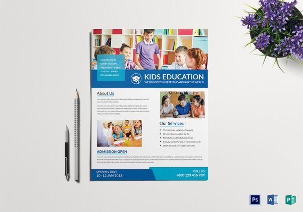 kids school tutoring flyer template