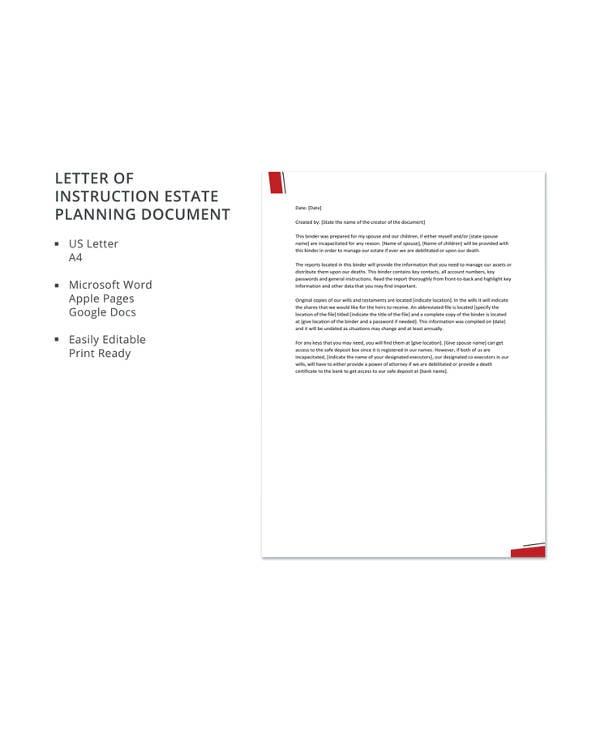 letter of instruction estate planning document