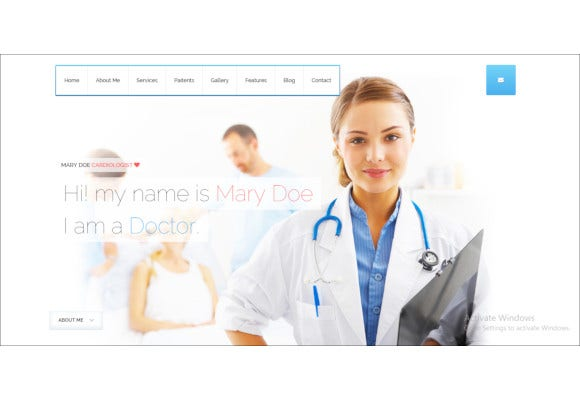 medical doctor one page wordpress theme