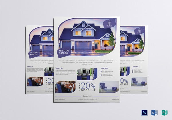 Real Estate Flyer Templates Free PSD AI EPS Format - Real estate brochure templates