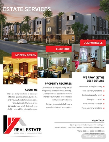 modern real estate service flyer template