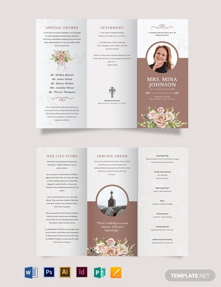 mother mom funeral obituary tri fold brochure template