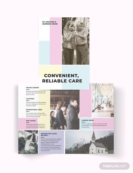 nursing home care bi fold brochure template