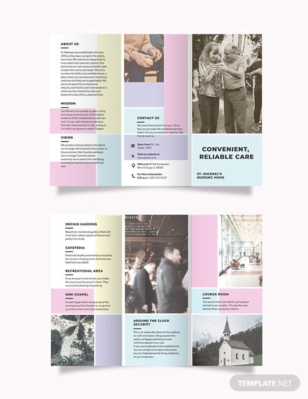 nursing home care tri fold brochure template