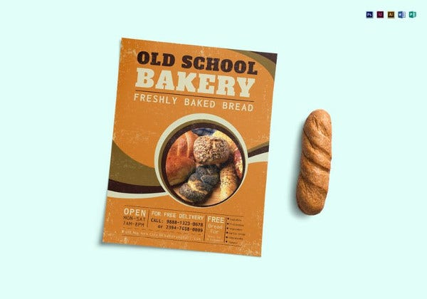 old school bakery flyer template in indesign