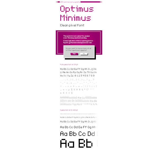 optimus minimus clean pixel font