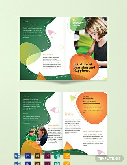 preschool bi fold brochure template