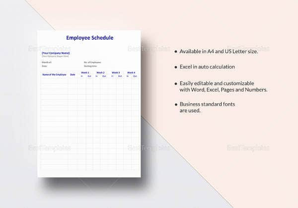 printable employee schedule template in ipages