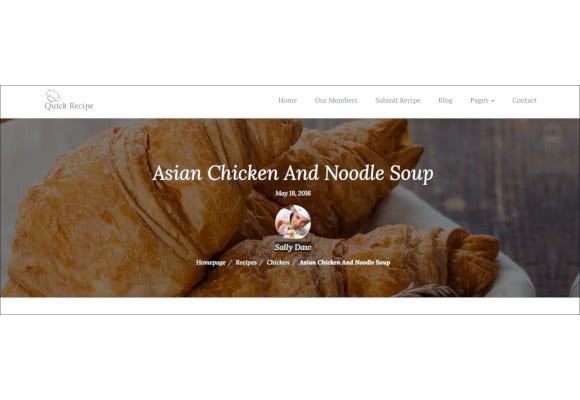 quick recipe food wordpress theme