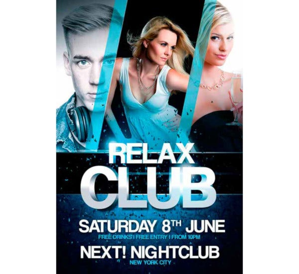 relax club free psd flyer template