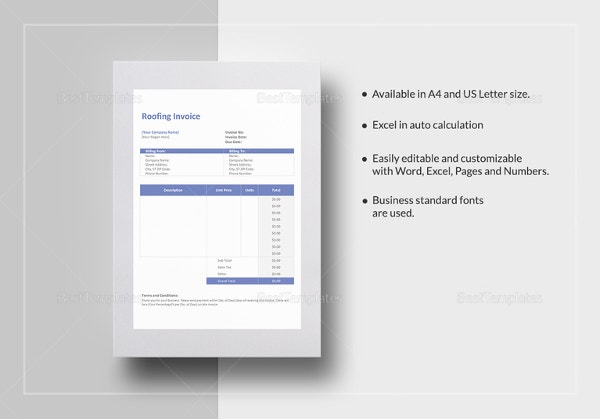 roofing invoice template - 4+ free word, pdf documents download, Invoice templates