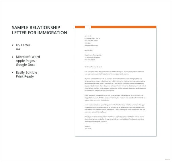10 immigration reference letter templates pdf doc free sample relationship letter for immigration template altavistaventures Choice Image