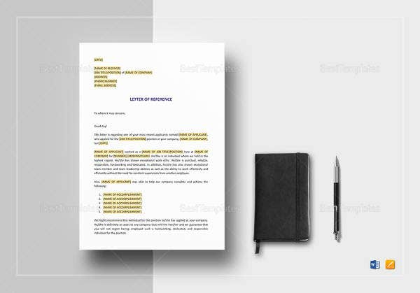 6 Immigration Reference Letter Templates Free Sample Example