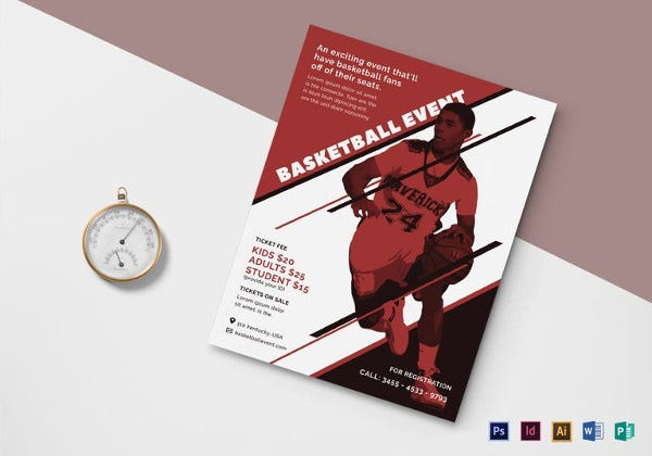 simple basketball event flyer template