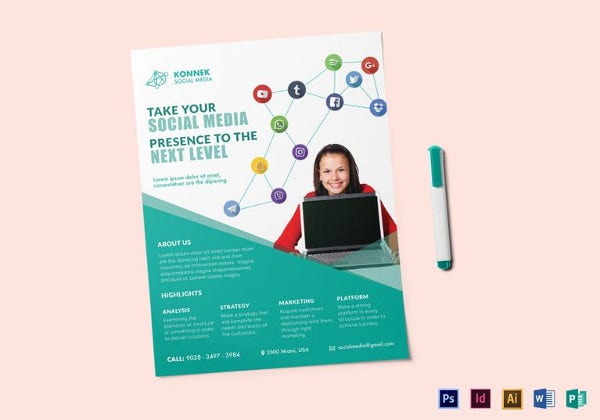 20 social media flyers free psd ai eps format for Social media policy template for schools