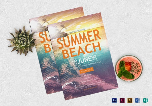 summer beach party flyer template in psd