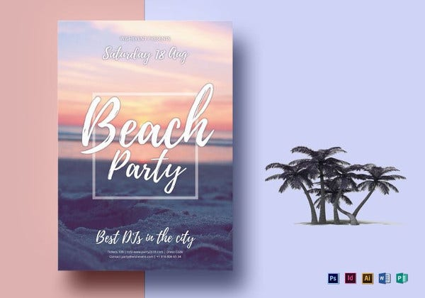 summer beach party flyer template1