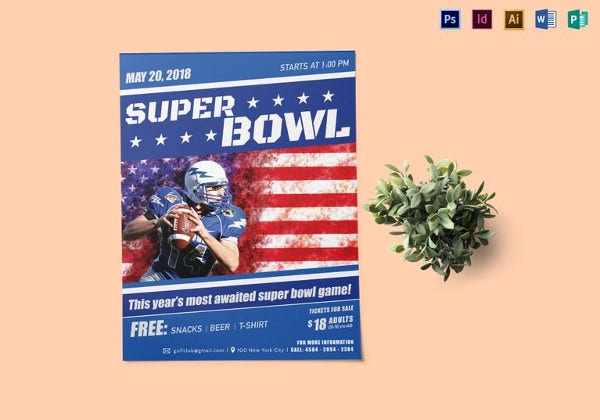 super bowl game flyer template