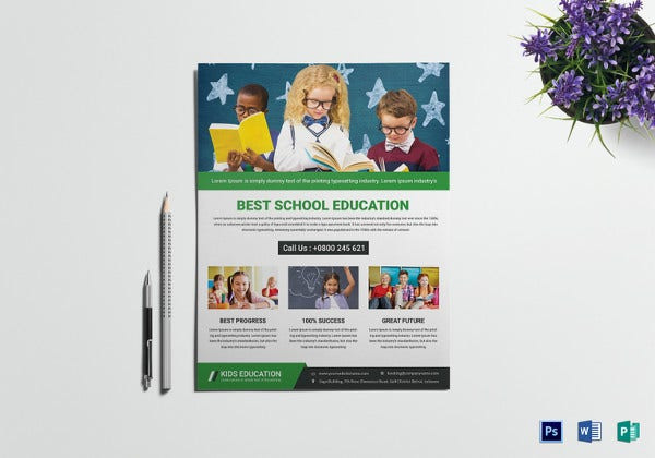 talent school education flyer template
