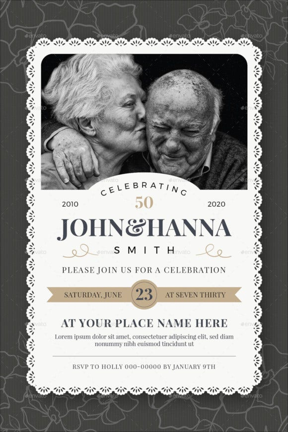 wedding anniversary celebration card template