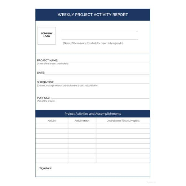 weekly-project-activity-report-template