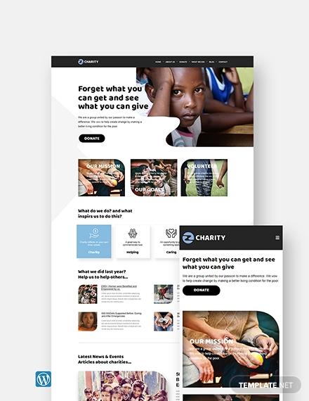 charity wordpress landingpage theme template