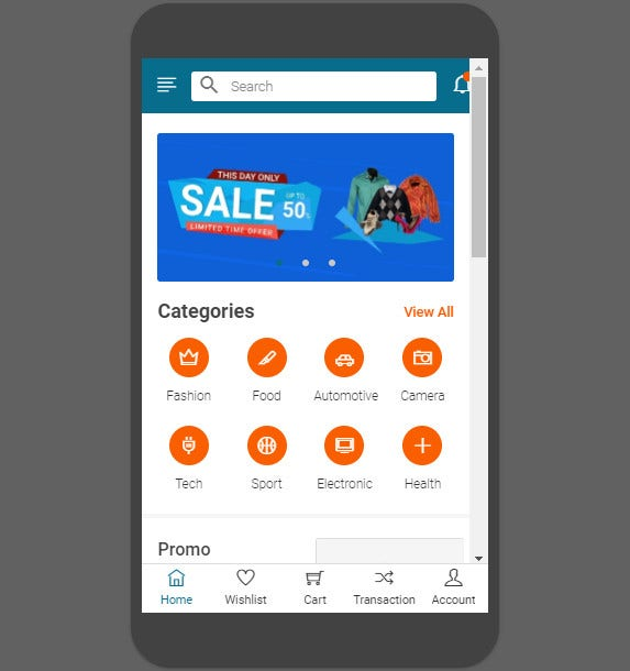 ecommerce mobile template