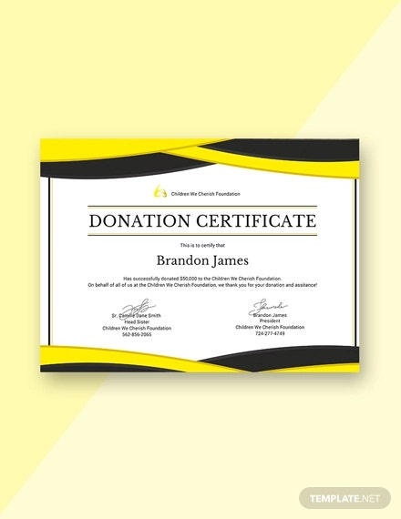 fre donation certificate