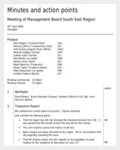 Board Minutes for Taking Actions