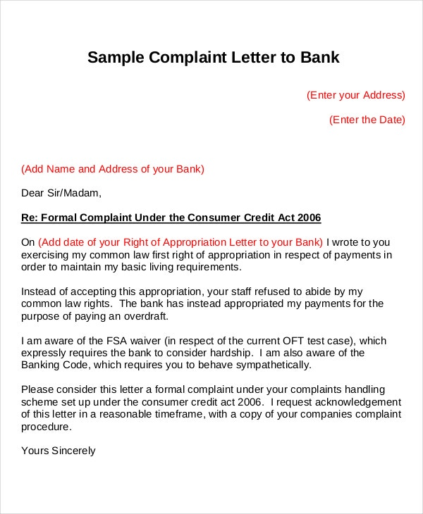 Sample Complaint Letter To Bank. Warwickdc.gov.uk  Complaint Letters To Companies